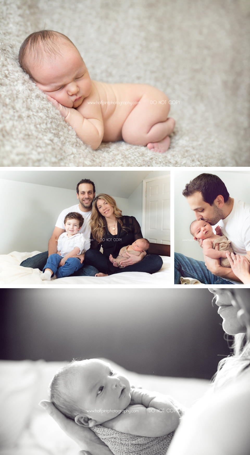newborn boy and family