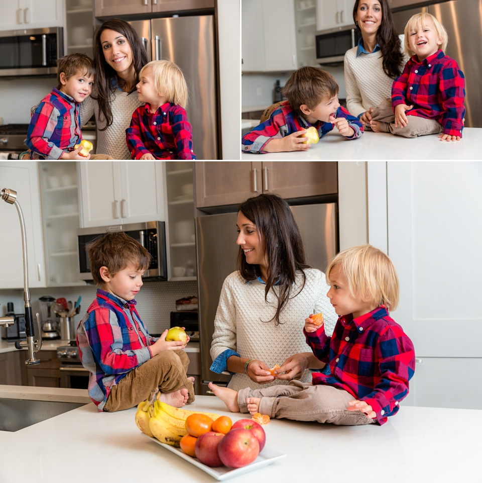 mom with sons in kitchen